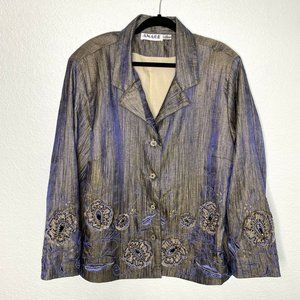Anage Floral Embroidered Beaded Jacket Shimmer